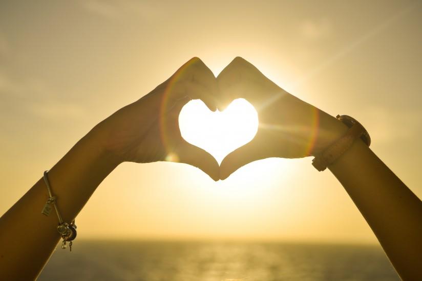 Hands, Heart, Love, Romantic, Sunset, Woman
